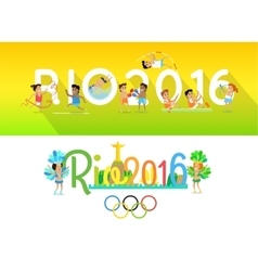 Rio 2016 concept banners in flat style design vector