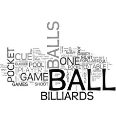 A beginner s guide to billiards text word cloud vector