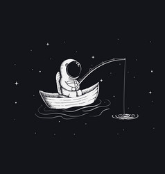 Astronaut fisherman is fishing in space vector