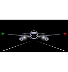 Bright silhouette of a jet airliner coming in to vector image