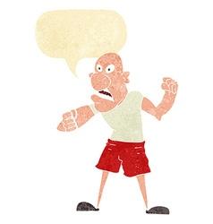 Cartoon violent man with speech bubble vector