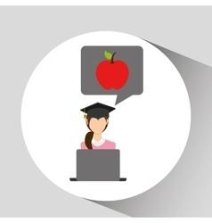 Character graduation apple online education vector
