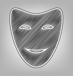 Comedy theatrical masks pencil sketch vector