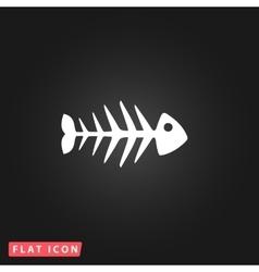 Fish skeleton flat icon vector
