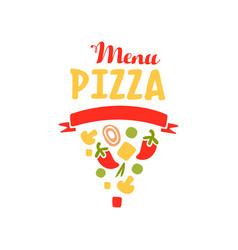 Flat vegetable pizza slice shape logo for pizzeria vector