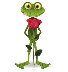 frog with rose vector image vector image