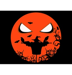 Halloween scary scarecrow ravens and bats vector