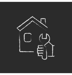House repair icon drawn in chalk vector image