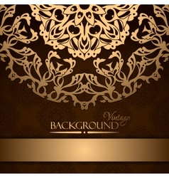 Invitation with gold lace floral ornament vector image