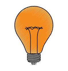 light bulb icon in colored crayon silhouette vector image vector image
