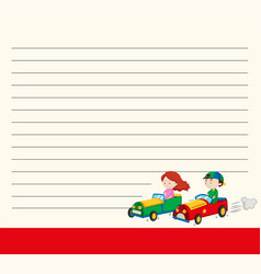 Line paper template with kids in racing cars vector