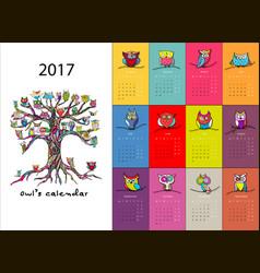 owls calendar 2017 design vector image