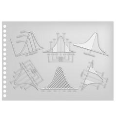 Paper art of positve and negative distribution cur vector