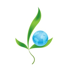 Planet earth with plants as symbol of environment vector image vector image
