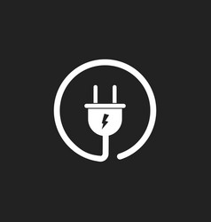 Plug icon power wire cable flat vector