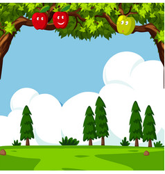 Scene with apple trees and green field vector