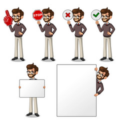 set of hipster businessman holding sign board vector image vector image