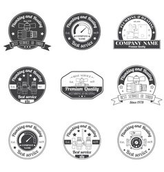 Set vintage plumbing heating services logo labels vector
