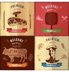 Steak House Emblem Design vector image
