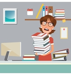 Stressed business woman with documents in office vector