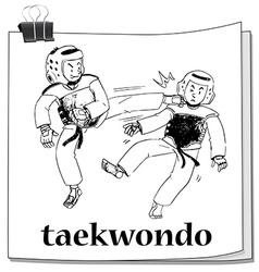 Two men doing taekwondo vector image
