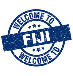Welcome to fiji blue stamp vector