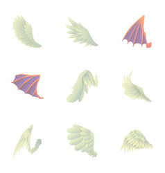 wings icons set cartoon style vector image