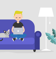 Young freelancer working at home flat editable vector