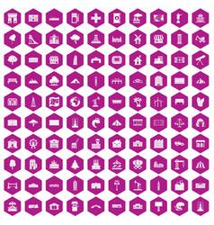 100 landscape element icons hexagon violet vector