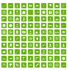 100 tension icons set grunge green vector