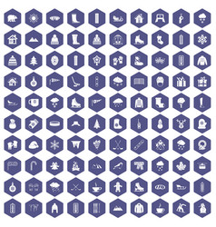 100 winter icons hexagon purple vector