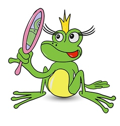Frog Princess with Mirror vector image
