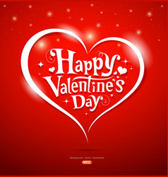 Happy valentine day lettering greeting card vector