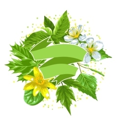 Spring green leaves and flowers ribbon with vector