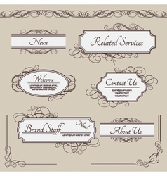 Set of vintage labels frames borders vector