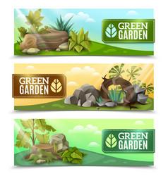 landscape garden design horizontal banners set vector image