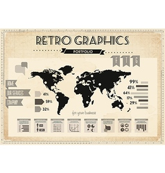 Retro vintage set of infographic elements vector image