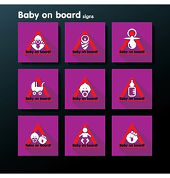 Flat baby on board sign set vector
