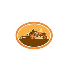 Farmer driving vintage farm tractor oval retro vector