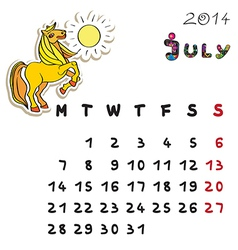 Color horse calendar 2014 july vector
