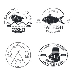 Fishing emblems labels elements logos icons set vector