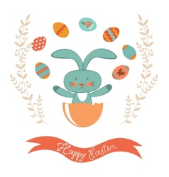 Easter card with rabbit hatching vector image