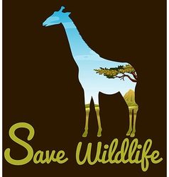 Save wildlife theme with giraffe vector