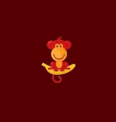Monkey sitting on a banana vector image