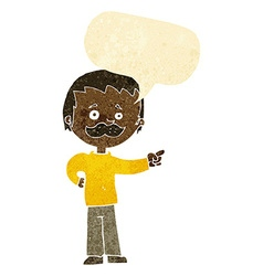 Cartoon man with mustache pointing with speech vector