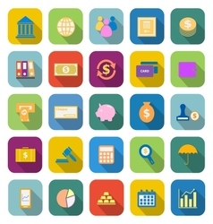 Banking color icons with long shadow vector