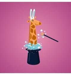 Giraffe in a magic hat vector image