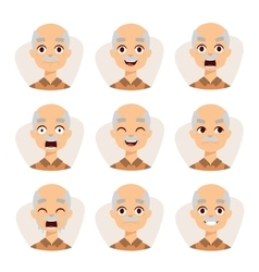Set of an old man emotions simple flat design vector