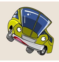 Cartoon character cheerful yellow bus stands vector