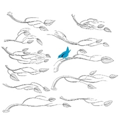 Artistic sketch of branches vector image vector image